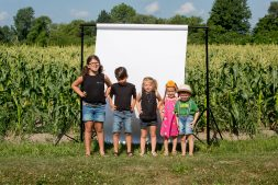 Farm Kids By Corn